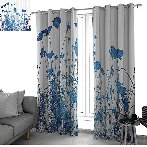 Abstract Home Decor Best Home Fashion Wide Width Thermal Insulated Blackout Curtain Silhouette of Summer Wildflowers Blooms Grass Garden Foliage Stylized Illustration Country Curtain Blue White ()