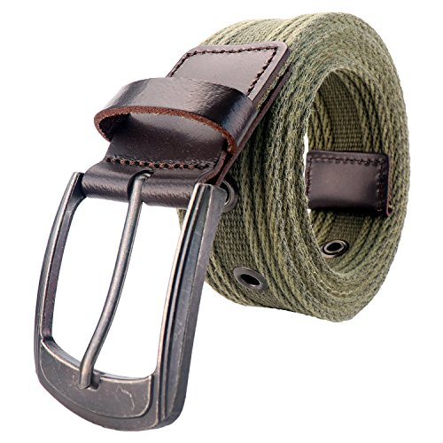 Men's Military Water-Washed Canvas Waist Web Belt Leather Tipped End and Silver Metal Buckle (Large(38-40), Olive) (Canvas Leather Silver)