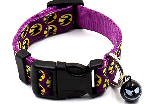 [Sporer@ Pething New Cat Pet Collar Dog Collar with Small Bell for Halloween Celebration (purple witch, small] (Cute Halloween Names For Kittens)