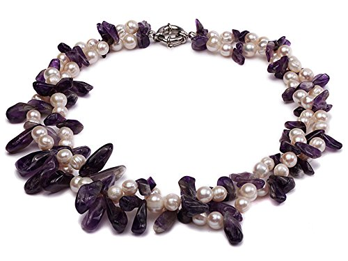 JYX Pearl Necklace Two-Strand 6-8mm White Freshwater Pearl and Purple Baroque Crystal Chips Necklace for Women 17