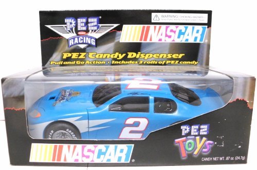 NASCAR PEZ Racing Candy Dispenser - Race Car #2 - Rusty Wallace - Pull and Go Action - - Wallace Rusty Race