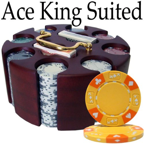 Brybelly Holdings PCS-2801 Pre-Pack - 200 Ct Ace King Suited Chip Set Wooden Carousel by Brybelly Holdings