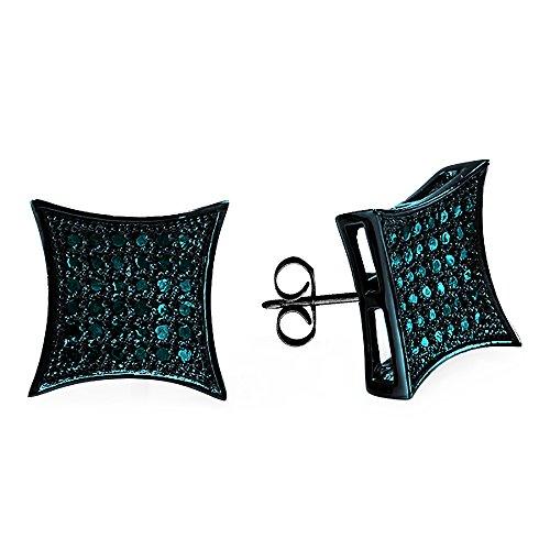 e Rhodium Plated Sterling Silver Blue Diamond Kite Mens Hip Hop Stud Earrings ()