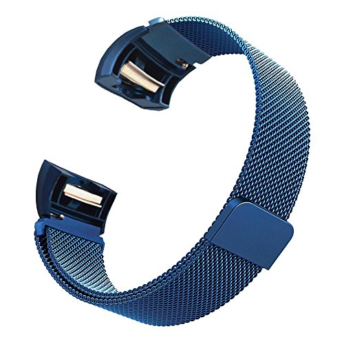 for Fitbit Charge 2 Bands, Milanese Style Strong Magnetism Loop Clasp Replacement Widening Watchband Stainless Steel Smart Watch Strap for Fitbit Charge 2 Bands Blue