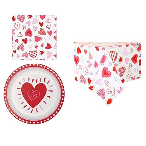 Hearts Party Supply Bundle: 32 Dinner Plates, 48 Luncheon Napkins and 1-54 x 84 Inch Vinyl Table Cover, (81 Piece Set)