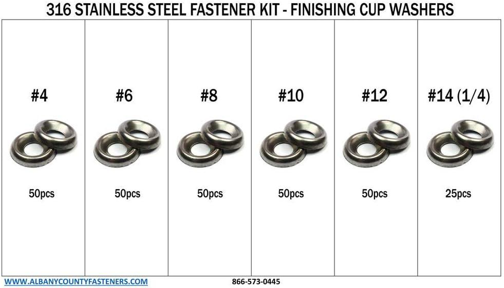 276 pcs 316 Stainless Steel Countersunk Finishing Cup Washers Kit #4 Thru 1//4