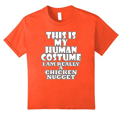 [Kids Human Costume of a Chicken Nugget Funny Costume Idea T-Shirt 8 Orange] (Pair Costume Ideas For Girls)