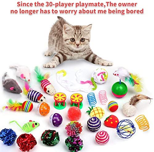 30 Piezas Set de Juguetes para Gatos Variedad Catnip Toy Set Kitten Toys Surtidos que incluyen Tunel Gato Pelota Gato Cat Teaser Mice Wand Feather Toys Cat Balls Jingle Bell Interactive Juguete gato Set para Gato 7