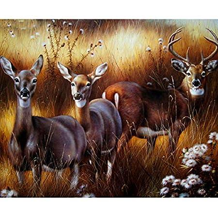 YUMEART Sika Deer and Cat Autumn Forest 5D DIY Needlework Embroidery Cross Stitch Giraffe Diamond Dotz Farm Animal Deer Sewing Art Crafts