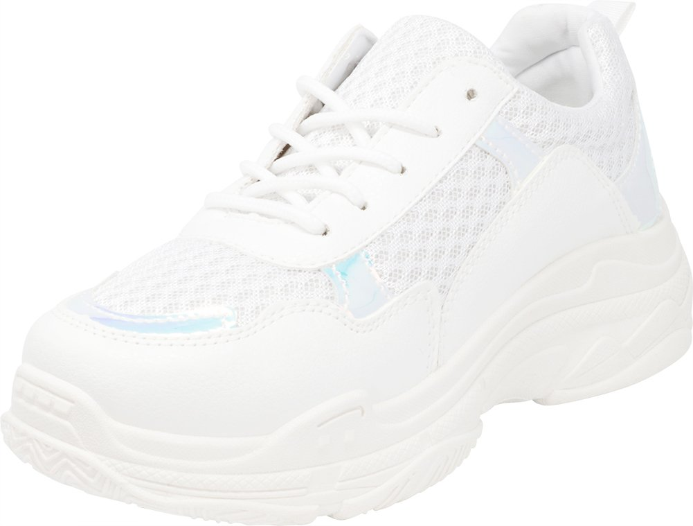 Cambridge Select Women's Retro 90s Ugly Dad Lace-up Chunky Platform Closed Toe Fashion Sneaker B07F15ZHY7 6 B(M) US|White