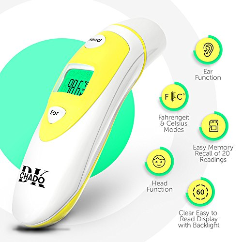 Forehead and Ear Thermometer for Baby, Kids and Adults - Digital Medical Infrared Thermometer for Body with Fever Indicator by ChadoDK (Image #2)