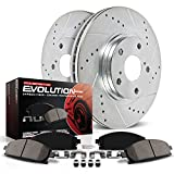 Power Stop K2004 Front Ceramic Brake Pad and Cross Drilled/Slotted Combo Rotor One-Click Brake Kit