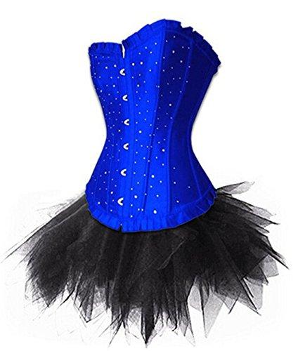 Rosfajiama De la Mujer de Burlesque Moulin Rouge correa acolchada sujetador Bustier corsé con falda tutú Azul