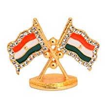 Very Beautiful Decorative Tri-Color Flag Metal Base Golden Color Idol for home,office and Car Desk by Bharat Haat BH05325