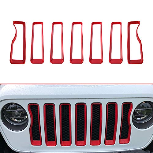 SUNPIE Jeep JL Grille Inserts | Front Grill Trim Covers Styling Accessories for 2018 Wrangler JL Sport/Sport S (Exterior Red 7 PCs)
