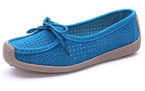 Bumud Womens Summer Hol Casual Loafer Schoenen Leer Rijden Plat Blauw