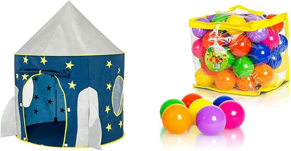 FoxPrint Rocket Ship Tent - Space Themed Pretend Play Tent - Space Play House & Soft Plastic Kids Play Balls – Non Toxic, 50 Phthalate & BPA Free - Crush Proof & No Sharp Edges; 50 Balls