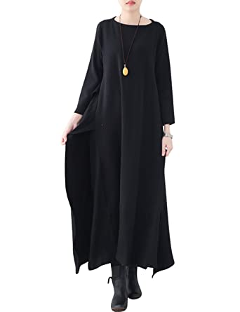 670c73f610b2 Youlee Femmes Hiver Automne Robe Pull en Laine Manches Longues Robes Maxi  Style 1 Black