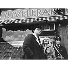 Vintage photo of Robbed jeweler fought alone against two violent men. Here is the goldsmith Tom Rosendahl with Pia Pia outside the shop on Skånegatan