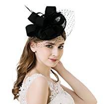 AWAYTR Women Fascinator Hat Sinamay Derby Church Hat Gorgeous Fancy FeatherHeadwear