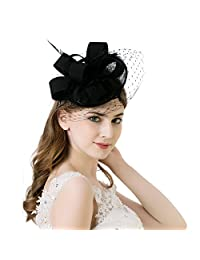 AWAYTR Women Fascinator Hat Sinamay Derby Church Hat Gorgeous Fancy Feather Headwear