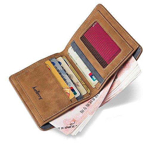 Badiya Retro Nubuck Leather Thin Vertical/Horizontal Bifold Wallet Card Holder