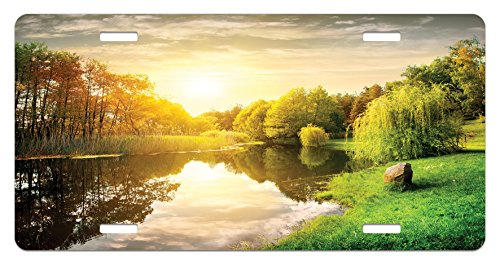 Landscape License Plate by Lunarable, Sunset Over Calm River Grass Willow Trees Grass Rocks Reflection Clouds, High Gloss Aluminum Novelty Plate, 5.88 L X 11.88 W Inches, Green Blue White