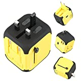 Adapter Travel Adapter,All-in-one Worldwide Travel Chargers Adapters for US UK AU EU with Dual USB Charging Ports Universal AC Socket - Safety Fused(Yellow)