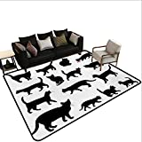 Custom Pattern Floor mat,Black Cat Silhouettes in Different Poses Domestic Pets Kitty Paws Tail and Whiskers 6'x7',Can be Used for Floor Decoration