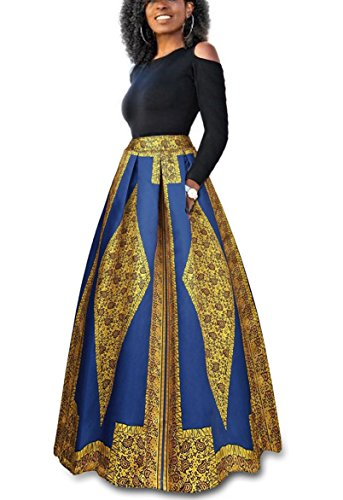 VLUNT Women's African Floral Print A Line Long Skirt Pockets Two Pieces Maxi (African Outfit)