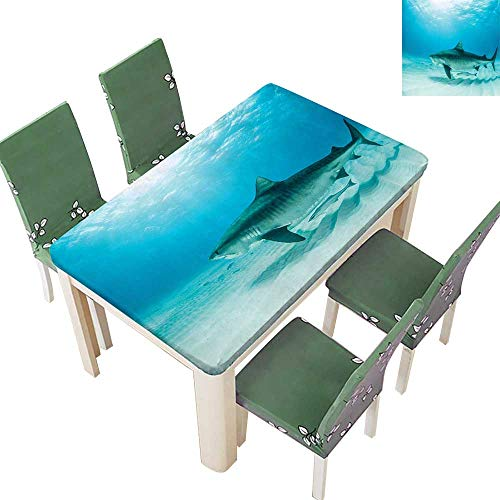 (Printsonne Polyester Tablecloths Tiger Shark The Bottom Danger Wild Life Jaws Image Turquoise for Indoor and Outdoor Use 54 x 72 Inch (Elastic Edge))