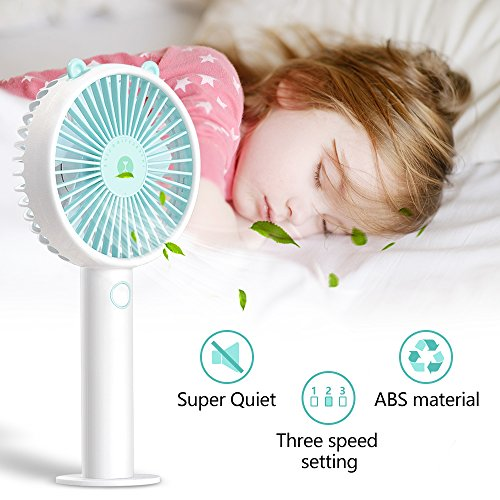 Desk USB Fan-Super Quiet Mini Battery Personal Fans with 2000mA Power Bank,3 Setting, Strong Wind Handheld Portable Small Fan for Baby,Travel,Camping and Outdoor Activities(Blue) by powerman (Image #3)