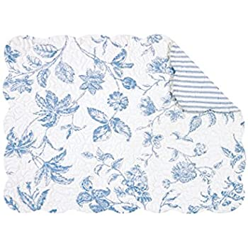 """Set of 4 PCS Quilted,13"""" x 19"""" Placemats, Brighton Blue"""