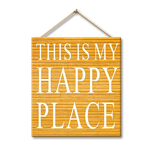 Hermosaa This Is My Happy Place Home Decor Inspirational Sayings Rustic Wood Signs 7x8 Inches Wood Plank Design Hanging Sign