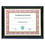 "8.5"" x 11"" Gold Trim Deluxe Document Frame, Black w/Gold Trim"