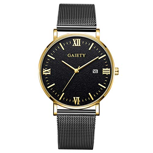 LUCAMORE Mens Analog Quartz Watches Minimalist Ultra Thin Watches for Men with Date Dispaly Mesh Stainless Steel Strap