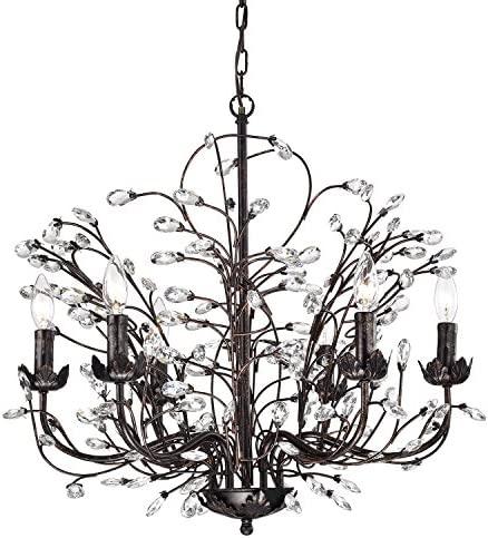 Edvivi 6-Light Antique Copper Chandelier with Vines and Crystals Glam Lighting