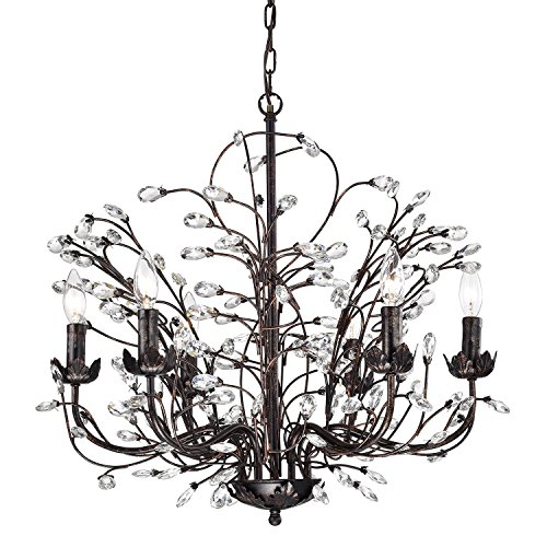 (Edvivi 6-Light Antique Copper Chandelier with Vines and Crystals | Glam Lighting)