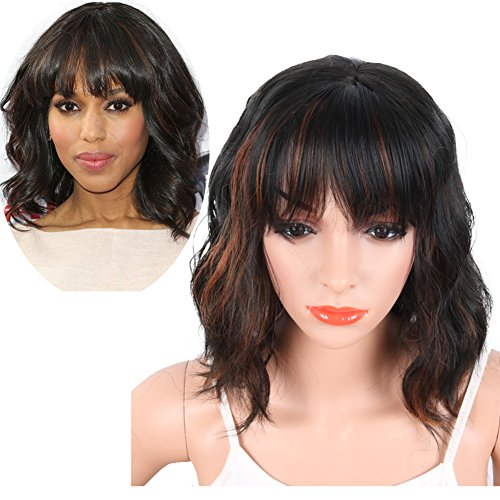 : KRSI Women's Short Curly Synthetic Wigs With Air Bangs Natural Black/Brown Wigs for Black Women Heat Resistant Custom Cosplay Party Full Wigs 14inch