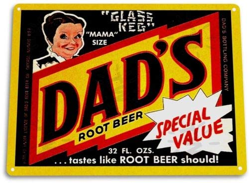 (TIN Sign Dads Root Beer Soda Cola Kitchen Cottage Bar Retro Label)
