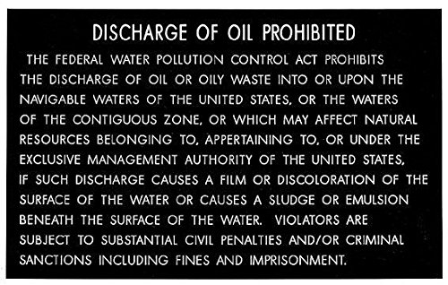 Discharge of Oil Prohibited Placard