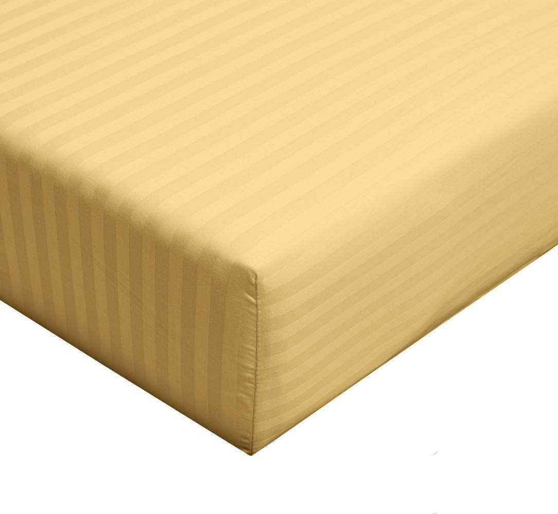 sheetsnthings Damask Striped 300-Thread-Count, 100-Percent Long Staple Cotton, Queen 60-Inch Wide x 80-Inch Long Fitted Sheet Sold Separately (Bottom Sheet) Gold