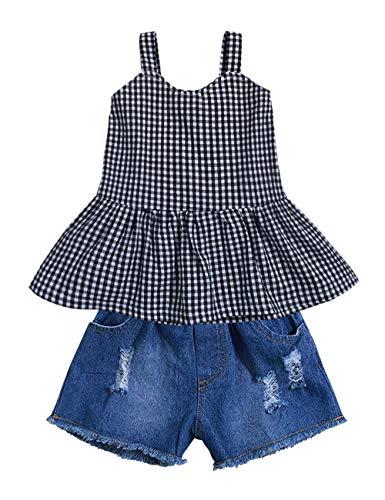 - 2pcs Toddler Baby Girls T-Shirt Dress+Jeans Pants Clothes Outfits Set