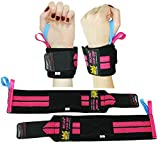 Deluxe Women's Wrist Wraps Pink Pair for WEIGHT LIFTING TRAINING WRIST SUPPORT COTTON WRAPS GYM...