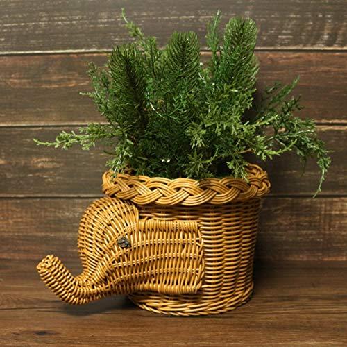 CVHOMEDECO. Elephant Design Imitation Rattan Fruit Basket Bread Basket Storage Basket Resin Wicker Artificial Plant Holder. Light Brown, 11-1/2''L by CVHOMEDECO. (Image #2)