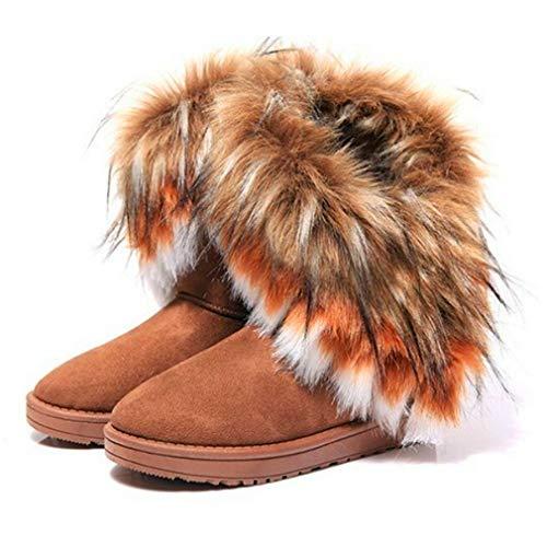 ARTCO Women's Winter Warm high Long Snow Ankle Boots Faux Fox Fur Tassel Shoes Three Colors Brown US9 (Fox Fur Winter Boots)