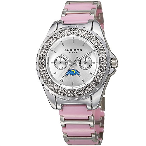 Akribos XXIV Women's Quartz Stainless Steel and Ceramic Casual Watch, Color:Two Tone (Model: AK961SSPK)