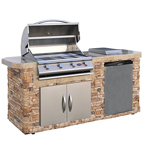 Cal Flame Outdoor Kitchen Island LBK-701-AS with 4-Burner Built in Grill, 30