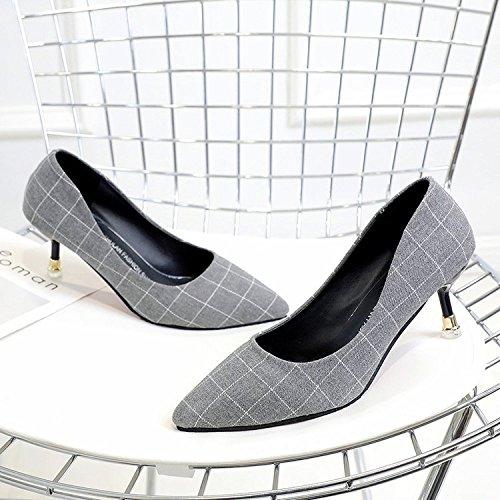fina con la los chica punta luz 39 la zapatos gris alto de zapatos Qiqi wild A de de Xue pajarita solo tacón CZgqwSx46g