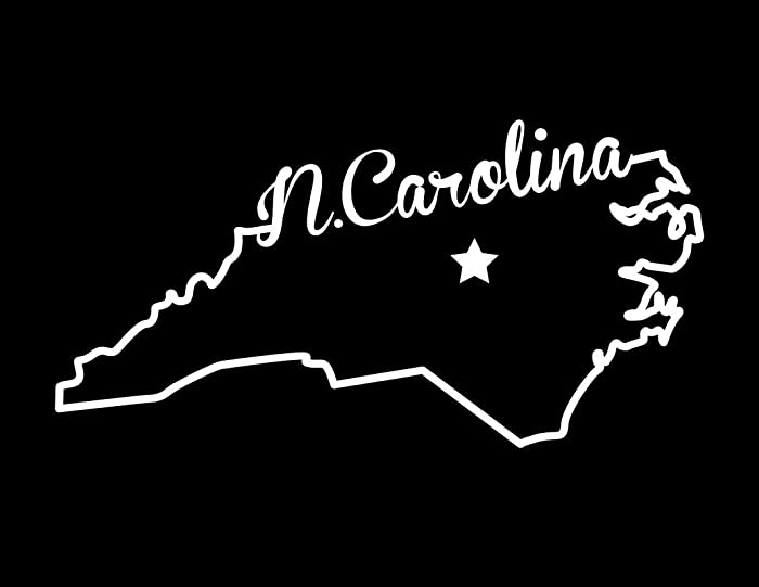 Decals Home Decor & More ND372W State of North Carolina Script Decal Sticker | 5.5-Inches By 2.7-Inches | Premium Quality White Vinyl